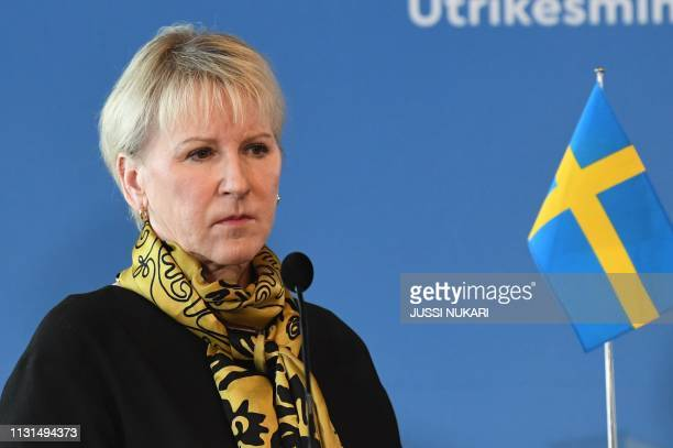 Sweden's Foreign Minister Margot Wallstroem holds a press conference during a meeting of Foreign Ministers of Germany Sweden Denmark and Finland in...