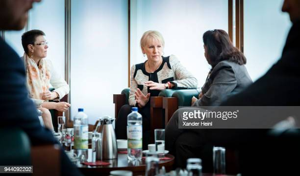 Sweden's Foreign Minister Margot Wallstrom at the meeting of the Woman Peace and Security Focal Points Network on April 10 2018 in Berlin Germany The...