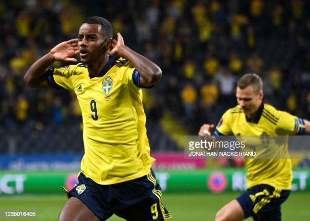 Sweden's forward Alexander Isak celebrates scoring his side' first goal during the FIFA World Cup Qatar 2022 qualification Group B football match...