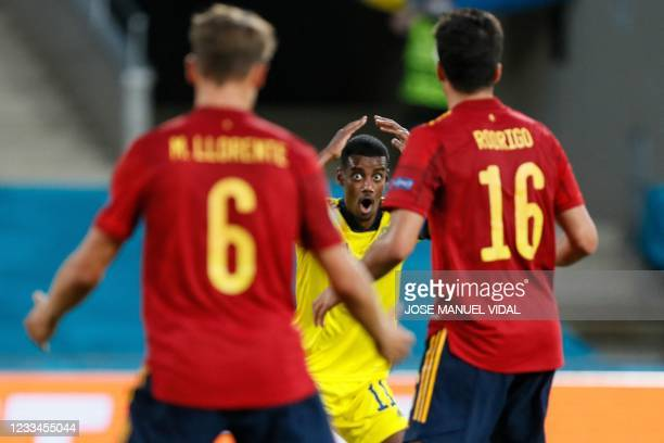 Sweden's forward Alexander Isak reacts after missing a goal opportunity during the UEFA EURO 2020 Group E football match between Spain and Sweden at...