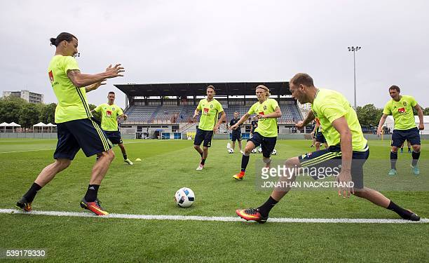 TOPSHOT Sweden's forward and captain Zlatan Ibrahimovic takes part in a training session at Swedens training ground in SaintNazaire on June 10 prior...