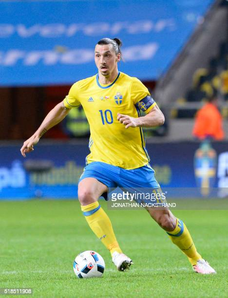Swedens forward and team captain Zlatan Ibrahimovic controls the ball during a friendly football match between Sweden and Czech Republic at the...
