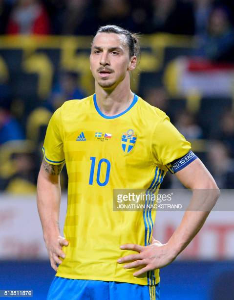 Swedens forward and team captain Zlatan Ibrahimovic reacts during a friendly football match between Sweden and Czech Republic at the Friends Arena in...