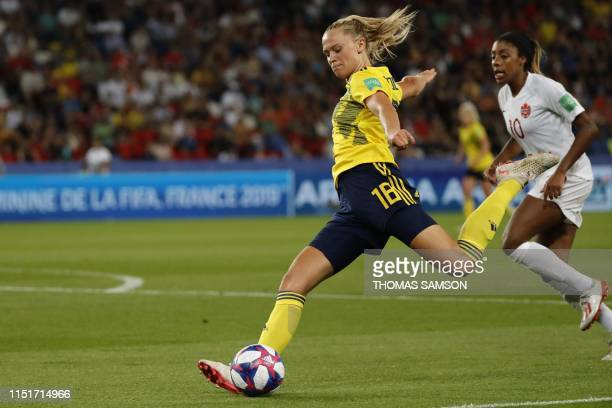 TOPSHOT Sweden's forward Fridolina Rolfo kicks the ball during the France 2019 Women's World Cup round of sixteen football match between Sweden and...