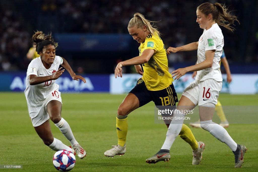 FBL-WC-2019-WOMEN-MATCH42-SWE-CAN : News Photo