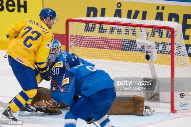 Sweden's forward Patric Hornqvist scores during the IIHF Men's Ice Hockey World Championships Group B match between Italy and Sweden on May 12 2019...