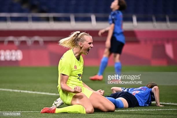 Sweden's forward Stina Blackstenius celebrates after scoring a goal during the Tokyo 2020 Olympic Games women's quarter-final football match between...