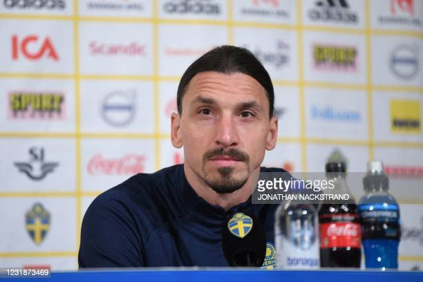 Sweden's forward Zlatan Ibrahimovic addresses a press conference on March 22, 2021 in Stockholm, prior to the World Cup qualifier of Sweden vs...