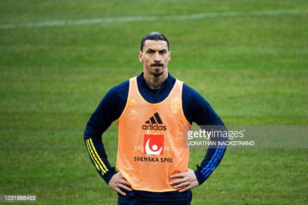 Sweden's forward Zlatan Ibrahimovic attends a training session of Sweden's national football team in Stockholm on March 23 prior to the World Cup...