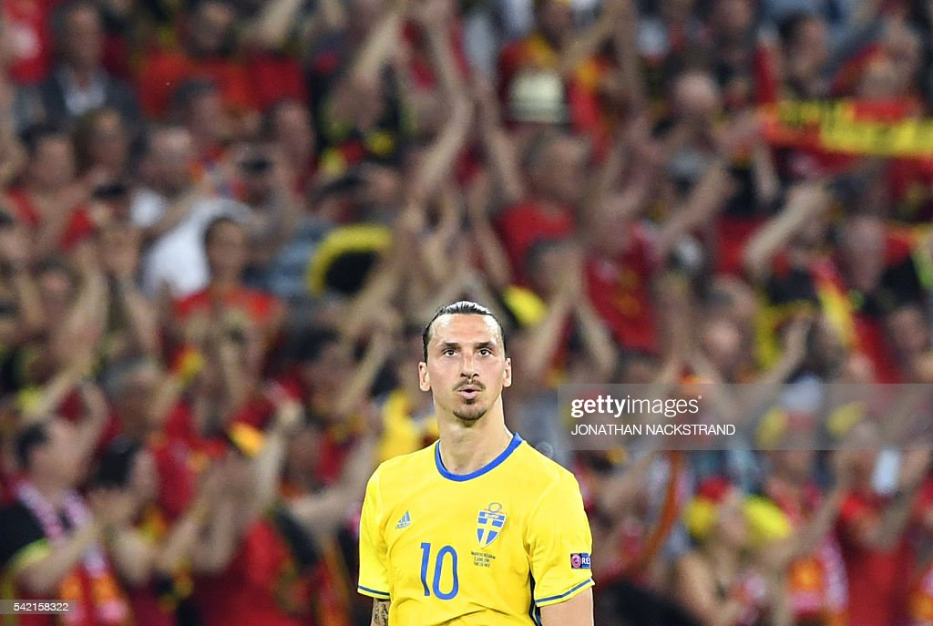 Sweden's forward Zlatan Ibrahimovic looks on during the Euro 2016 group E football match between Sweden and Belgium at the Allianz Riviera stadium in Nice on June 22, 2016. / AFP / JONATHAN