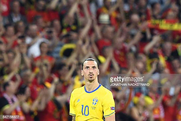 Sweden's forward Zlatan Ibrahimovic looks on during the Euro 2016 group E football match between Sweden and Belgium at the Allianz Riviera stadium in...