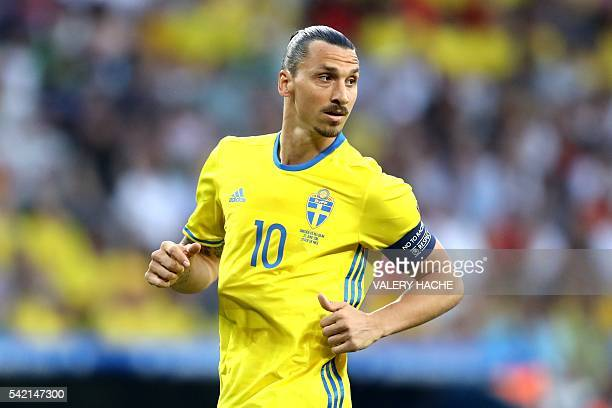 Sweden's forward Zlatan Ibrahimovic looks over during the Euro 2016 group E football match between Sweden and Belgium at the Allianz Riviera stadium...