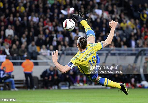 Sweden's forward Zlatan Ibrahimovic shoots during the friendly international football match between Sweden and Iran at the Friends Arena in Solna...