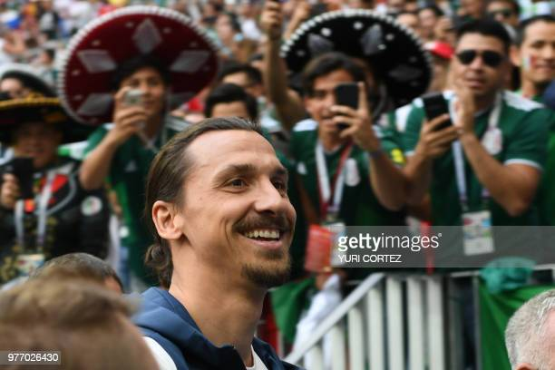 Sweden's forward Zlatan Ibrahimovic smiles before attending the Russia 2018 World Cup Group F football match between Germany and Mexico at the...