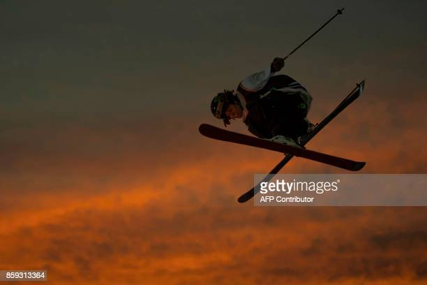 Sweden's freestyle skier Henrik Harlaut performs a jump during the Sosh Big Air festival in Annecy on October 7 2017 / AFP PHOTO / CHRISTOPHE SIMON