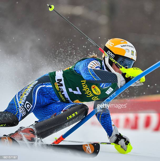Sweden's Frida Hansdotter competes during the women's World Cup slalom at Maribor on January 27 2013 AFP PHOTO JURE MAKOVEC