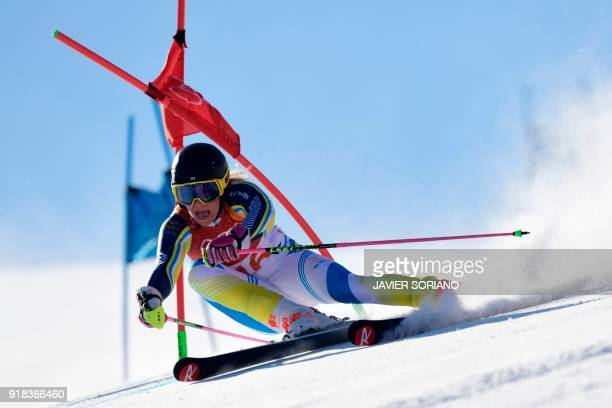 TOPSHOT Sweden's Frida Hansdotter competes in the Women's Giant Slalom at the Yongpyong Alpine Centre during the Pyeongchang 2018 Winter Olympic...