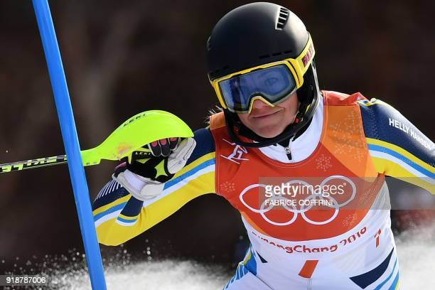 TOPSHOT Sweden's Frida Hansdotter competes in the Women's Slalom at the Jeongseon Alpine Center during the Pyeongchang 2018 Winter Olympic Games in...