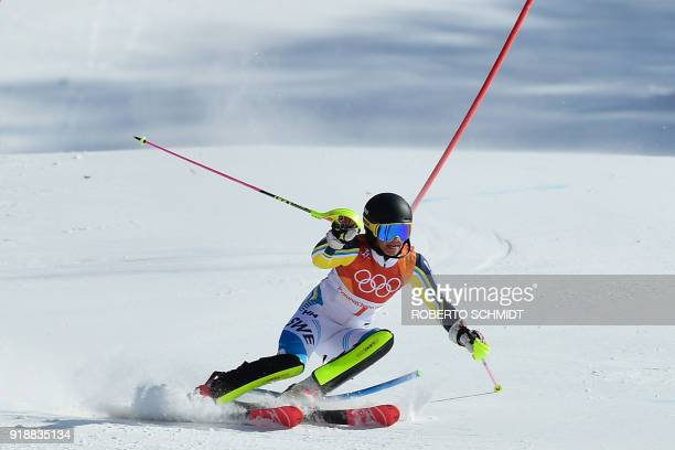 TOPSHOT Sweden's Frida Hansdotter competes to win gold in the Women's Slalom at the Jeongseon Alpine Center during the Pyeongchang 2018 Winter...