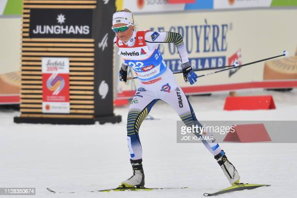 Sweden's Frida Karlsson competes in the CrossCountry Ladies 30km Mass Start Free event at the FIS Nordic World Ski Championships on February 28 2019...