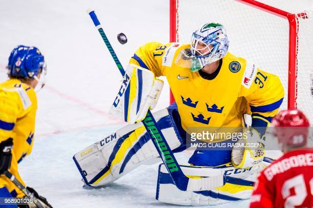 Sweden's goalkeeper Anders Nilsson during the group A match Russia v Sweden of the 2018 IIHF Ice Hockey World Championship at the Royal Arena in...