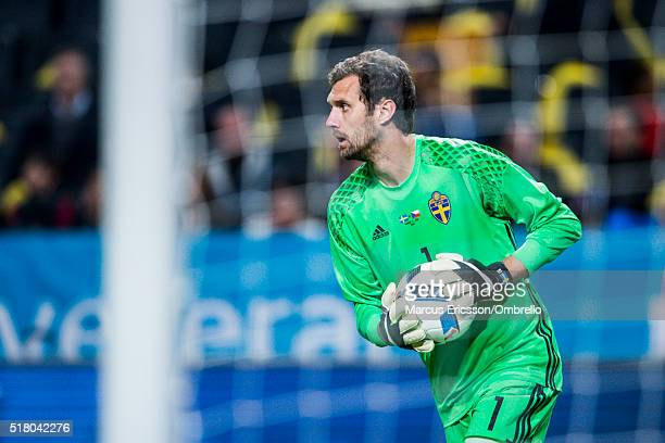 Swedens goalkeeper Andreas Isaksson during the international friendly between Sweden and Czech Republic at Friends Arena on March 29 2016 in Solna...