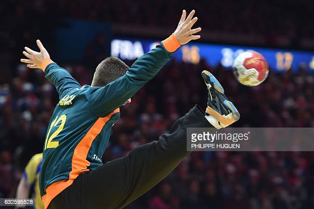 Sweden's goalkeeper Andreas Palicka deflects a ball during the 25th IHF Men's World Championship 2017 quarter final handball match France vs Sweden...