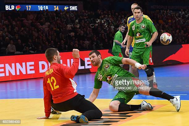 Sweden's goalkeeper Andreas Palicka deflects a shot from Belarus' left wing Aliaksandr Tsitou during the 25th IHF Men's World Championship 2017...