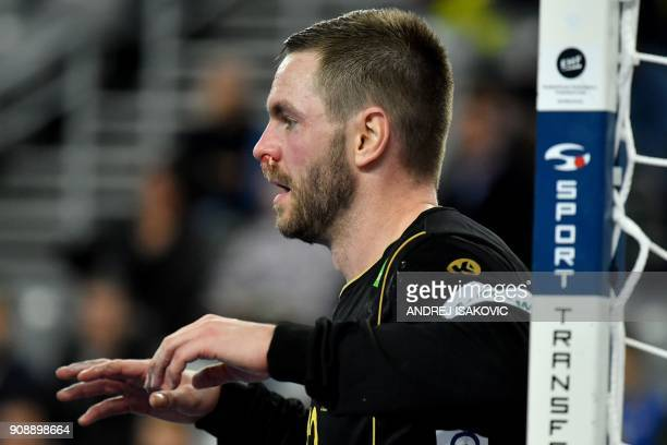 Sweden's goalkeeper Andreas Palicka gestures during the group I match of the Men's 2018 EHF European Handball Championship between Sweden and Belarus...