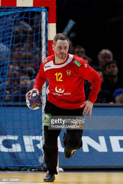 Sweden's goalkeeper Andreas Palicka holds the ball during the 25th IHF Men's World Championship 2017 Group D handball match Argentina vs Sweden on...