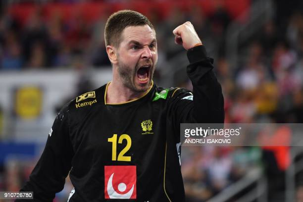 Sweden's goalkeeper Andreas Palicka reacts during the semifinal match of the Men's 2018 EHF European Handball Championship between Denmark and Sweden...