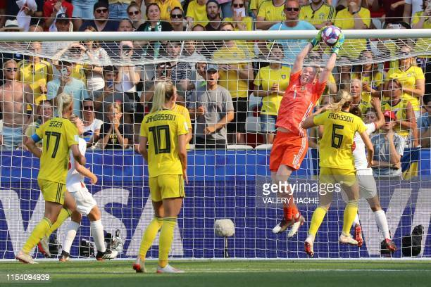 Sweden's goalkeeper Hedvig Lindahl makes a save during the France 2019 Women's World Cup third place final football match between England and Sweden,...