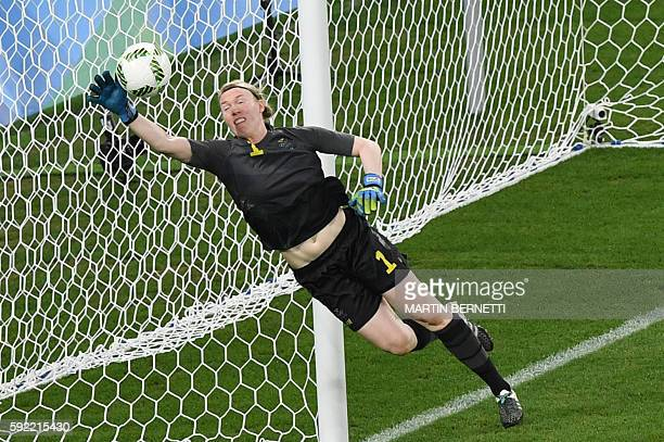 Sweden's goalkeeper Hedvig Lindahl makes a save during the Rio 2016 Olympic Games women's football Gold medal match at the Maracana stadium in Rio de...