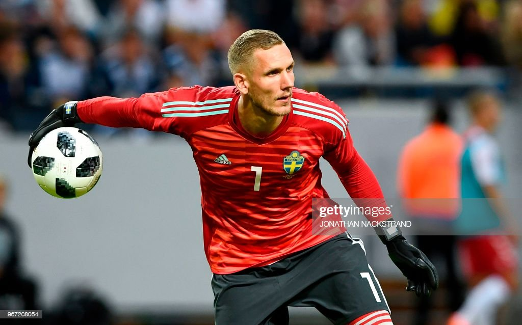 Sweden's goalkeeper Robin Olsen reacts during the international friendly footbal match Sweden v Denmark in Solna, Sweden on June 2, 2018.