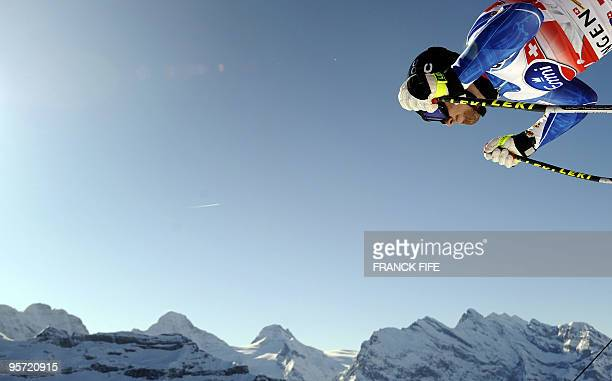 Sweden's Hans Olsson starts in the official practice of men's downhill during FIS Ski World cup in Wengen on January 12 2010 Switzerland's Didier...