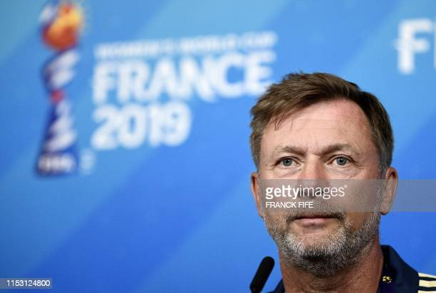 Sweden's head coach Peter Gerhardsson gives a press conference at the Groupama stadium in Lyon on July 1 during the France 2019 football Women's...