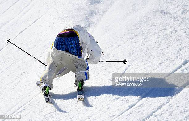 Sweden's Henrik Harlaut competes in the Men's Freestyle Skiing Slopestyle finals at the Rosa Khutor Extreme Park during the Sochi Winter Olympics on...
