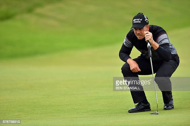 Sweden's Henrik Stenson lines up a putt on the 6th green during his final round on day four of the 2016 British Open Golf Championship at Royal Troon...