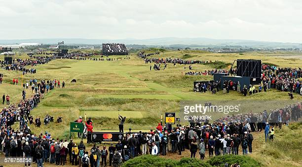 Sweden's Henrik Stenson plays from the 6th tee during his final round on day four of the 2016 British Open Golf Championship at Royal Troon in...
