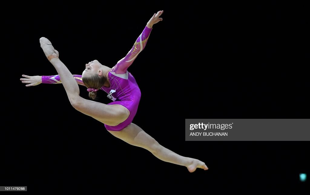 TOPSHOT - Sweden's Jessica Castles competes in the women's floor final of the artistic gymnastics at the SSE Hydro during the 2018 European Championships in Glasgow on August 5, 2018.