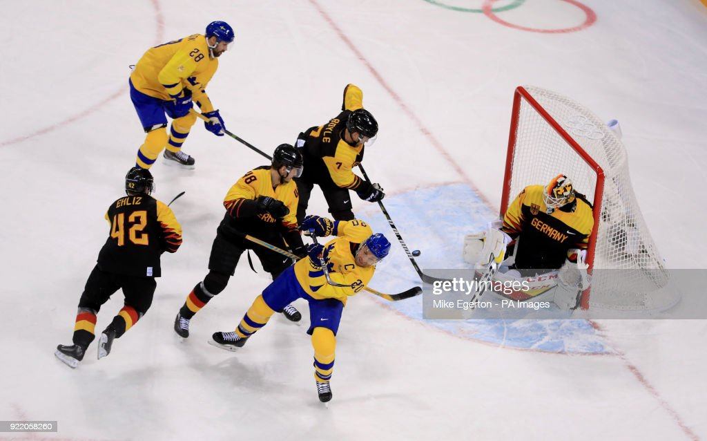 Sweden's Joel Lundqvist has a shot on goal against Germany in the Play Off Quarter Final in the Men''s Ice Hockey at the Kwandong Hockey Centre during day twelve of the PyeongChang 2018 Winter Olympic Games in South Korea.