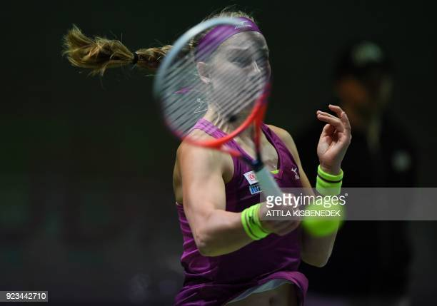Sweden's Johanna Larsson returns the ball to Slovakia's Dominika Cibulkova during their tennis match at the Hungarian Ladies Open on February 23 2018...