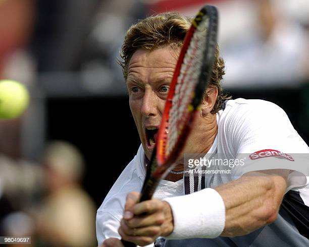 Sweden's Jonas Bjorkman competes in the Davis Cup quarterfinals against United States' Mardy Fish in Delray Beach, Florida April 9, 2004. Final...