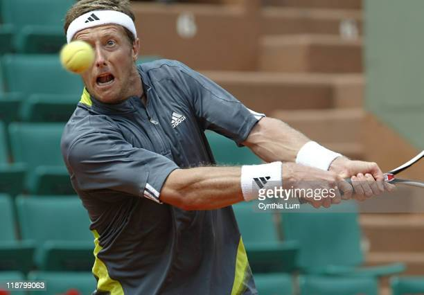 Sweden's Jonas Bjorkman in action, during his 7-6, 6-2, 7-5, loss to Carlos Moya of Spain in the fourth round of the French Open, at Roland Garros,...