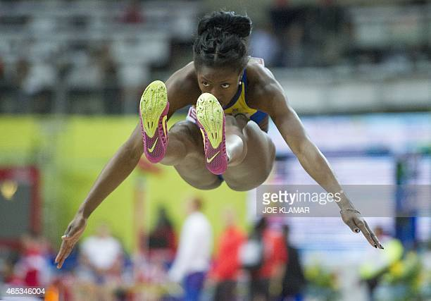 Sweden's Khaddi Sagnia competes during the qualification round of the women's long jump competition at the European Athletics Indoor Championships on...
