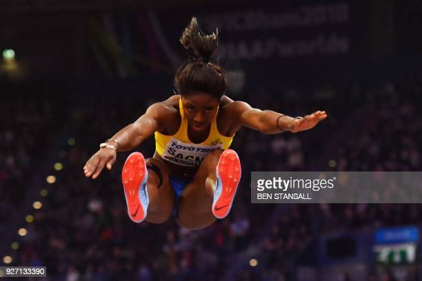 Sweden's Khaddi Sagnia competes in the women's long jump final at the 2018 IAAF World Indoor Athletics Championships at the Arena in Birmingham on...