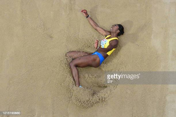 Sweden's Khaddi Sagnia competes in the women's Long Jump final during the European Athletics Championships at the Olympic stadium in Berlin on August...