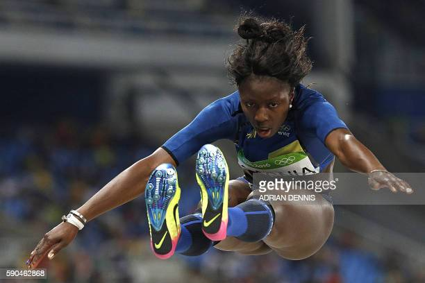 Sweden's Khaddi Sagnia competes in the Women's Long Jump Qualifying Round during the athletics event at the Rio 2016 Olympic Games at the Olympic...