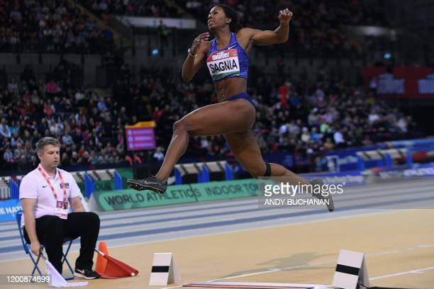 Sweden's Khaddi Sagnia competes to take second place during the women's long jump final at the Müller Indoor Grand Prix Glasgow 2020 athletics in...