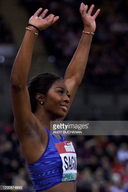 Sweden's Khaddi Sagnia reacts after taking second place during the women's long jump final at the Müller Indoor Grand Prix Glasgow 2020 athletics in...